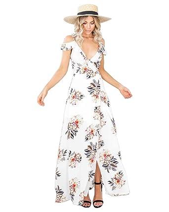 849e183ef3a Women s Sexy Deep V Neck Halter Backless Sleeveless Floral Boho Split Maxi  Summer Beach Dresses at Amazon Women s Clothing store