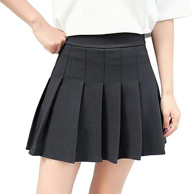 7ae1988a6a Hoerev Women Girls Short High Waist Pleated Skater Tennis School Skirt -  Black, UK 4