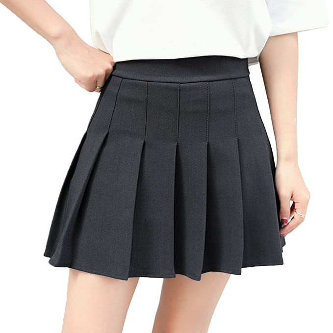 55d68d5d461 Hoerev Women Girls Short High Waist Pleated Skater Tennis School Skirt   Amazon.co.uk  Clothing