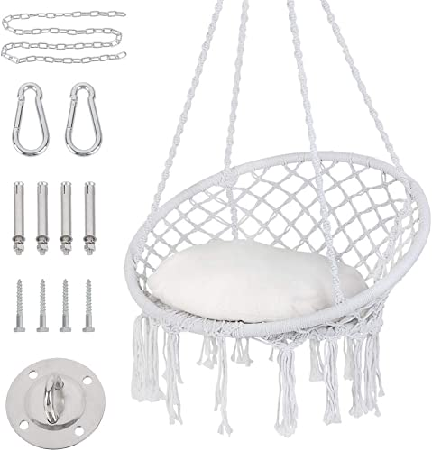 Patio Watcher Hammock Chair Macrame Swing with Cushion and Hanging Hardware Kits, Handmade Knitted Mesh Rope Swing Chair for Indoor, Outdoor, Home, Bedroom, Patio, Yard Deck, Garden, White