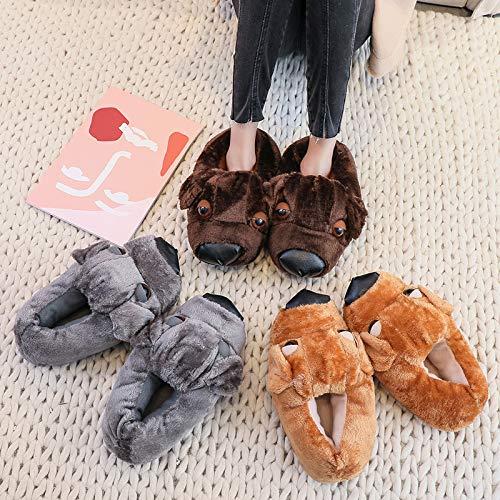 Di Weiwei Imbottite Pantofole Carino Cane Calde taglia Casa Paio Unica marrone Cotone Giallo Ciabatte Wei Da wrESqr