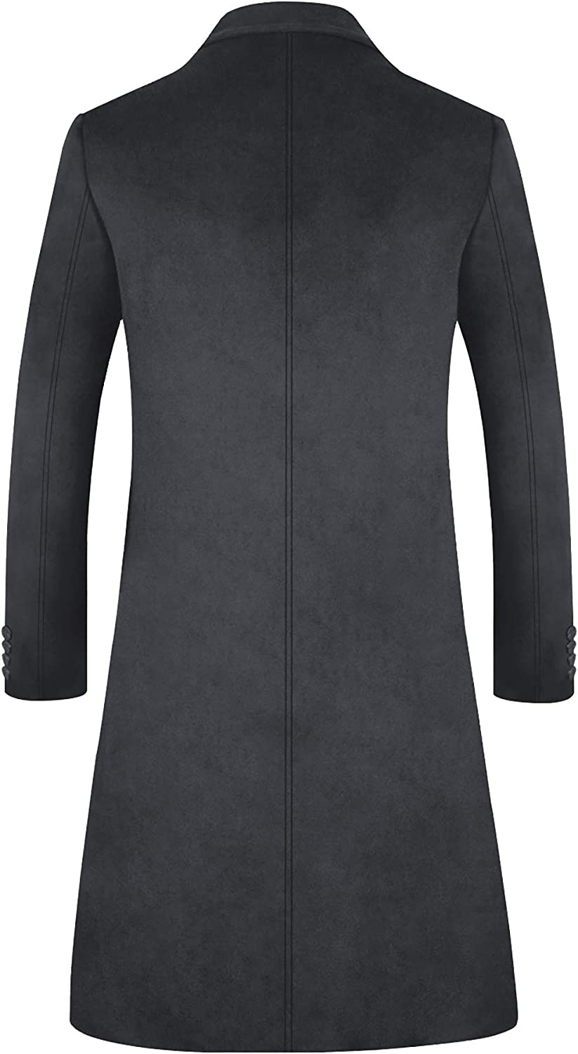 ELETOP Mens Coats Single//Double Breasted Winter Coat Wool Trench Coat