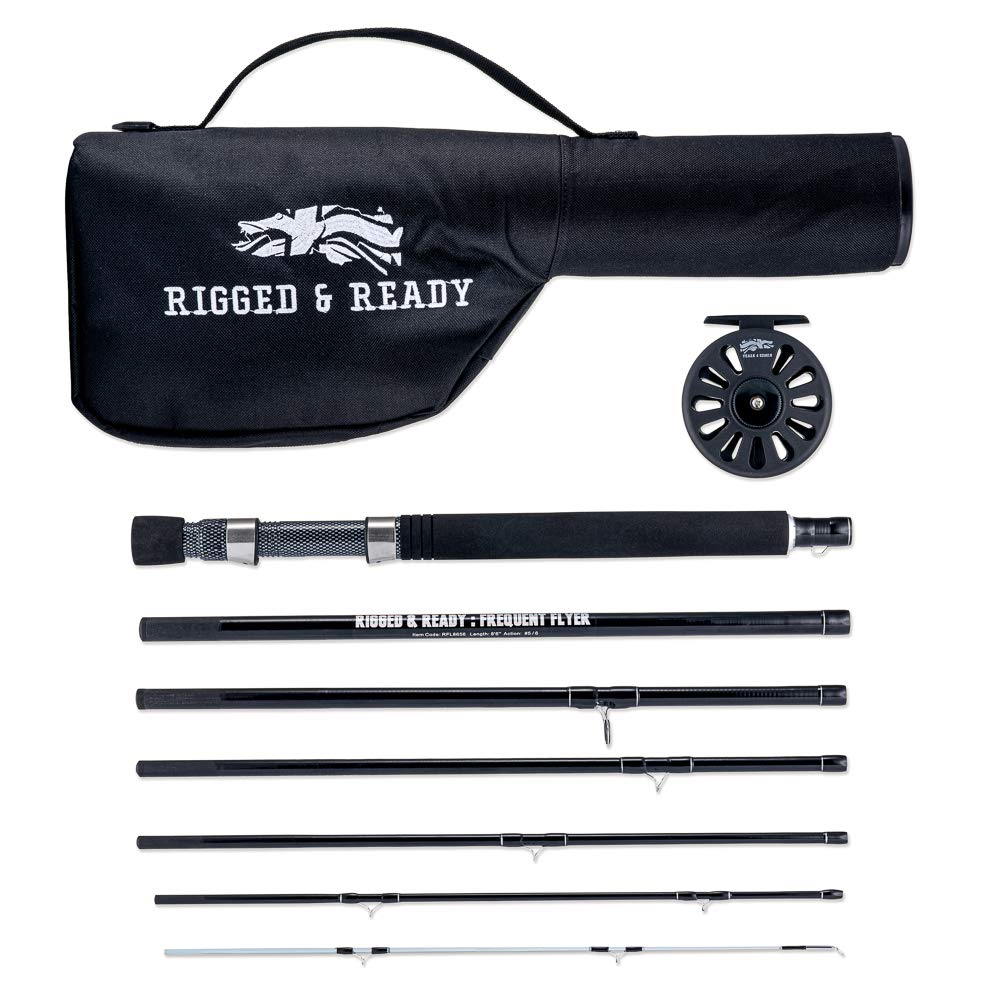 The Frequent Flyer Travel Fly Fishing Rod and Reel Combination. 7 Section, 2.6m 8 6 , 5 6 Weight, Rod, Reel and case. British Design. Rigged and Ready Travel Fishing