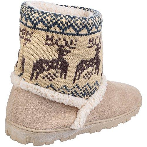 Divaz Womens/Ladies Denmark Winter Bootie Slippers Beige