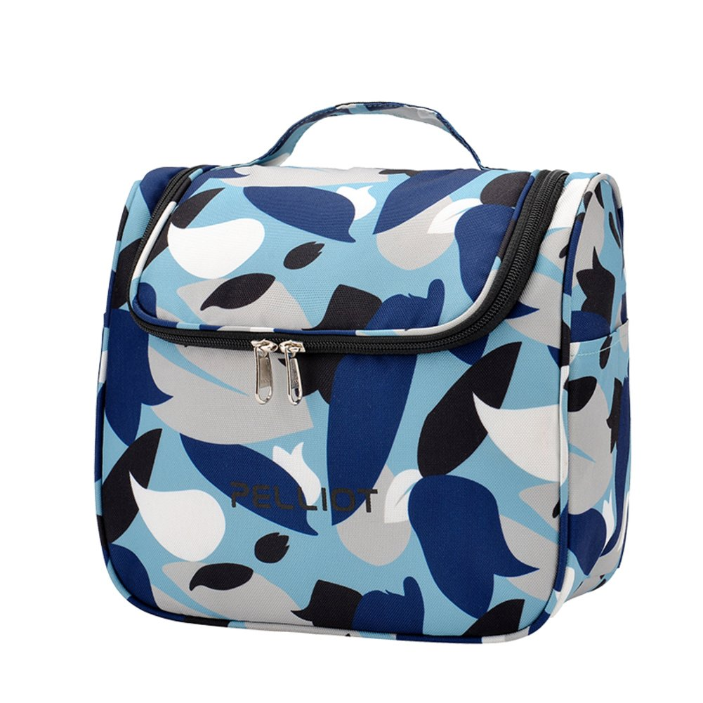 Amazon.com   Flower Cosmetic bags Washing bag Large capacity Wash kits  Storage bag Portable But Makeup bags travel Toiletry bag for women-Blue ... 3f062b129690f