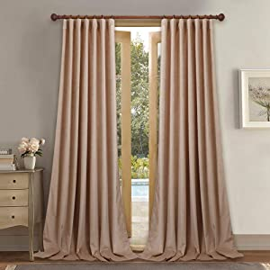 StangH Blush Velvet Curtains 2 Panels - Light Blocking Kids Curtains for Girls Bedroom Decor, Rod Pocket Back Tab Design Privacy Drapes for Nursery / Classroom, Beige Blush, W52 x L84 inches
