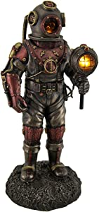 Veronese Design Lighted Steampunk Skeleton in Diving Suit Statue