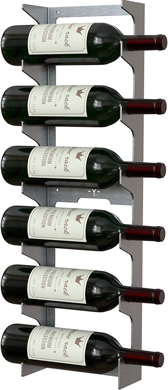 Y-Furniture Wall Series - Wall Mounted Steel Wine Rack Label View Display (Stainless Steel, 6 Bottles)