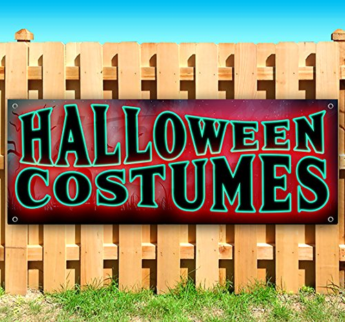 Halloween Costumes 13 oz Heavy Duty Vinyl Banner Sign with Metal Grommets, New, Store, Advertising, Flag, (Many Sizes Available) ()