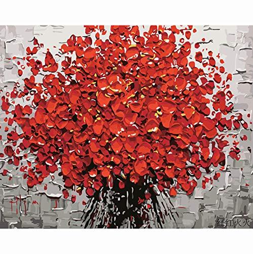 WACYDSD Flor Roja DIY Pintura Digital por Números Pintura Acrílica Abstracta Moderna Arte De La Pared Pintura De La Lona para La Decoración Casera