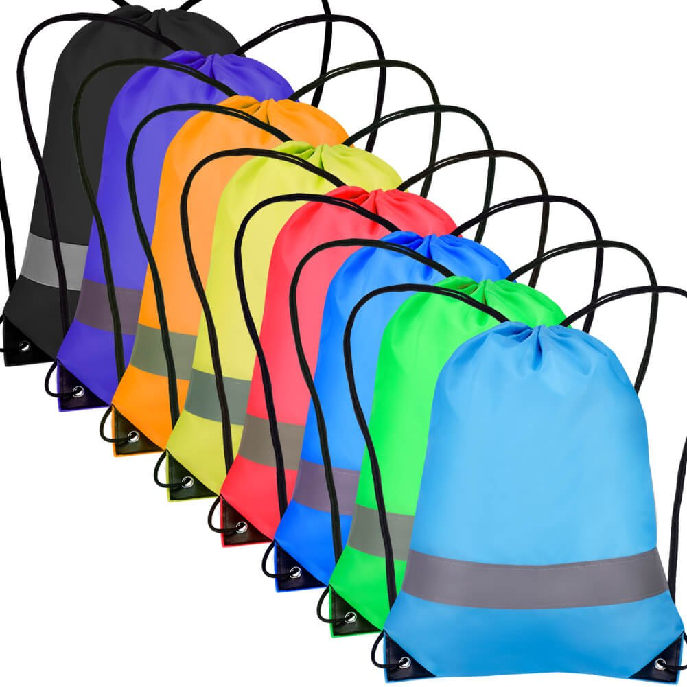 Paxcoo 8 Pack Drawstring Backpacks Reflective Cinch Sack Draw String Tote Bags Bulk for Kid Picnic Gym Beach Travel