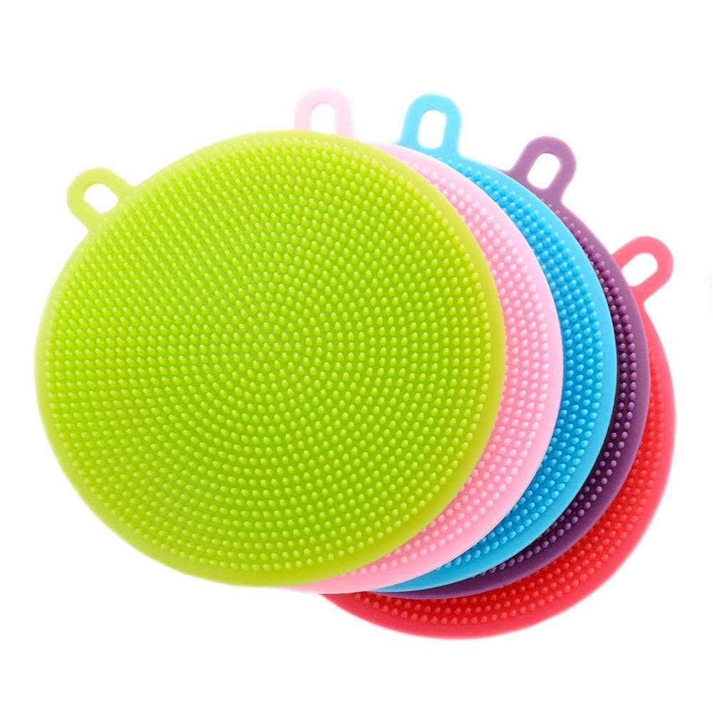 YaptheS Silicone Dish Sponge Washing Brush Scrubber 5 Pack Household Cleaning Sponges, Antibacterial Mildew-Free Brushes Household Decoration
