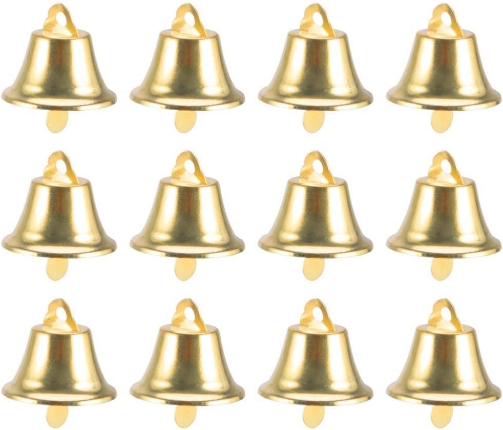 Amosfun 24 cascabeles artesanales Jingle Bells Mini campanas doradas campanas de viento Vintage Hierro Campanas Navidad DIY artesanía