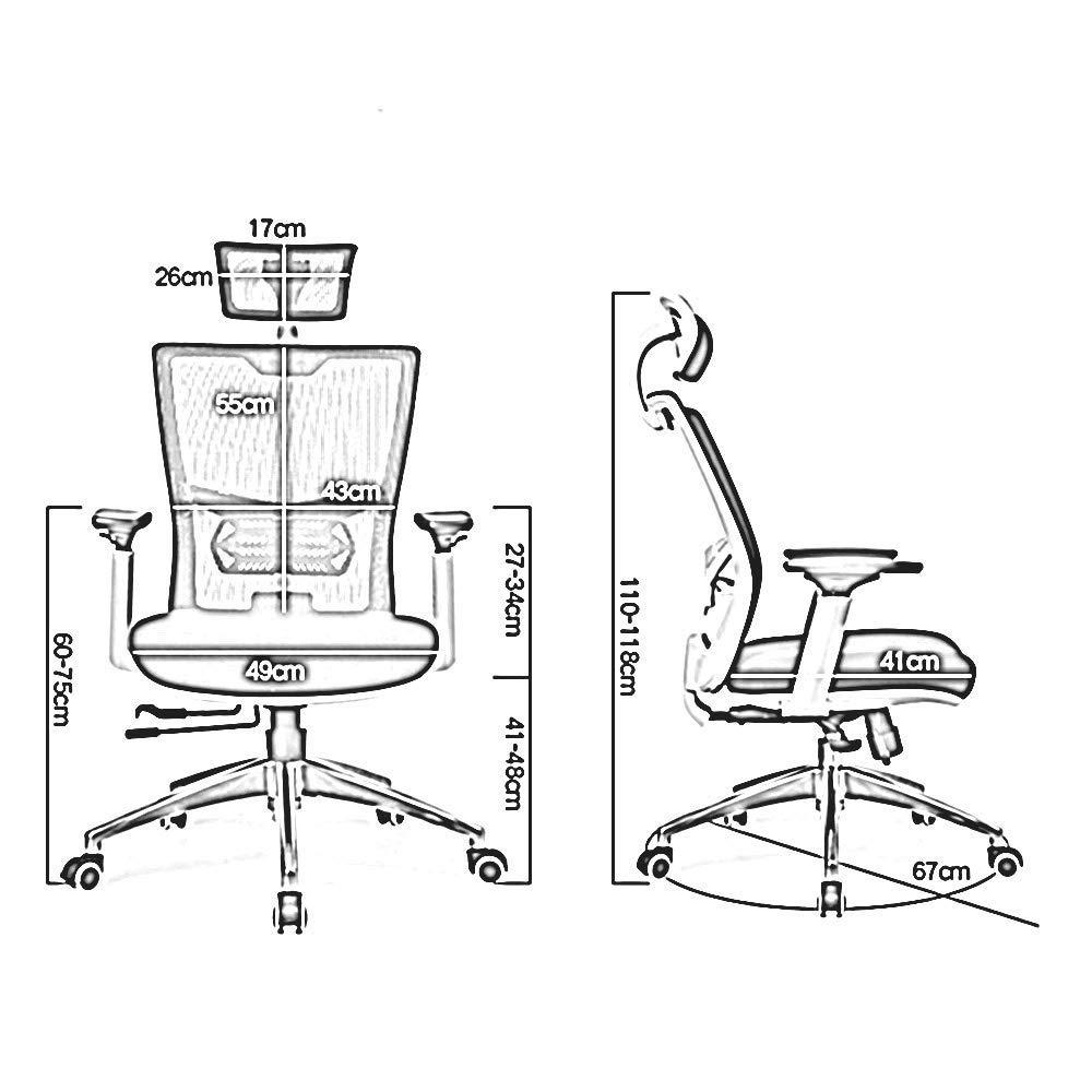 WYYY Mesh hög rygg svängbar kontorsstol modern enkelhet multifunktionell räcke, huvudstöd teleskopisk kudde andningsbar nät Vitt Svart