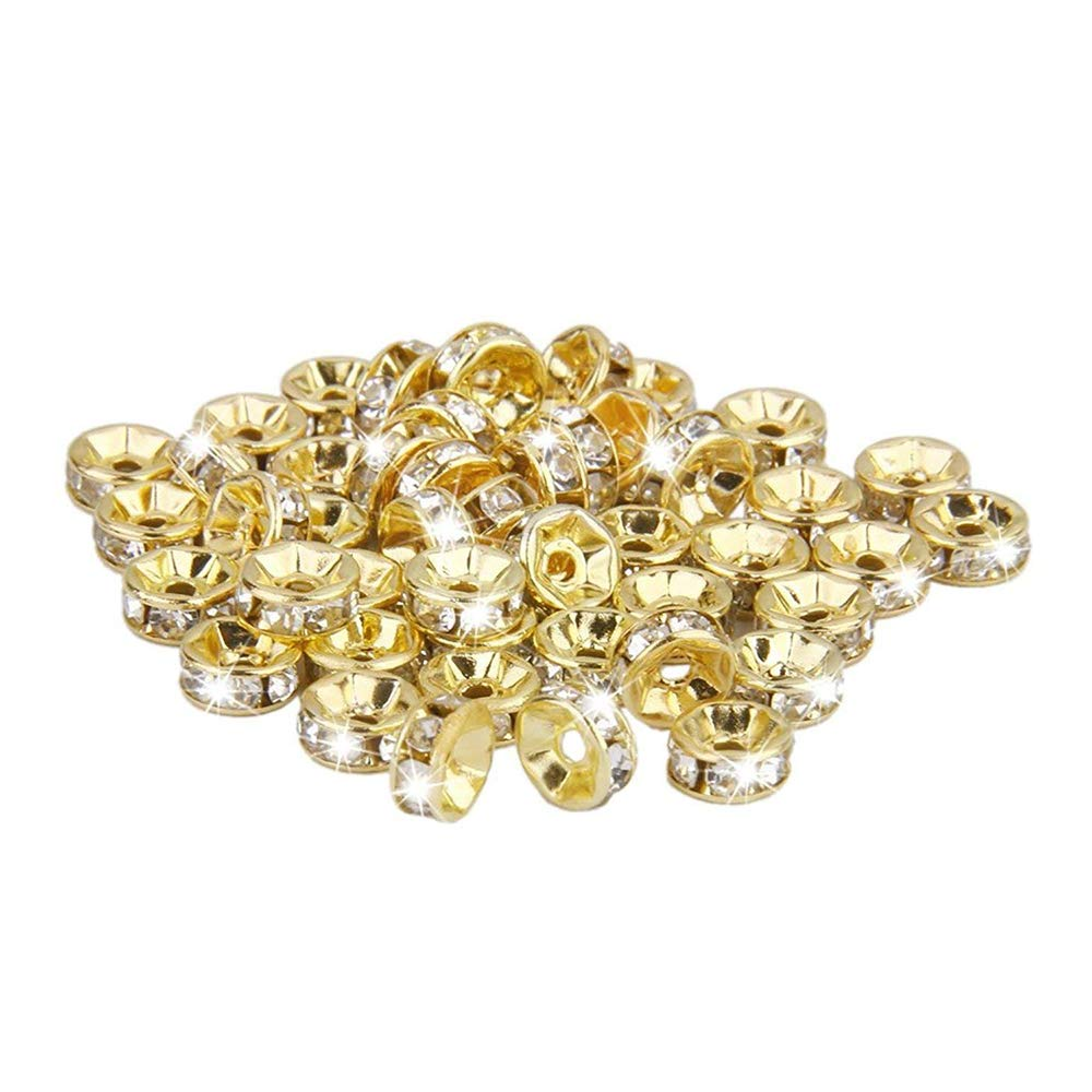 XSM Bricolage /À La Main Bijoux Accessoires Bracelet Collier Septa Plat-Bord Diamant Perles 6mm Diamant Septa dor 50 Pcs
