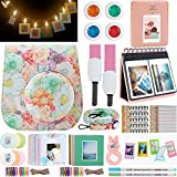 Katia Instant Camera Accessories for Fujifilm Instax Mini 9 or Mini 8 Instant Film Camera. (Fuji mini 9 Case with strap, Photo Album, Frame, Selfie Len, Filters, LED string clip) - (Hibiscus)