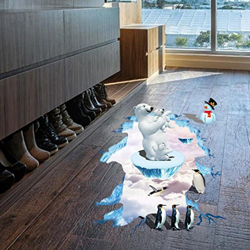 (Huphoon 3D Polar Bear penguin snowman Wall Floor Mural Stickers Removable Self-adhesive Creative Decal For Kid's Bedding Room or Birthday Toys Gift)
