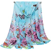 Bullidea Women's Silk Scarf Long Floral Printed Chiffon Shawl Wrap Scarves Thin Decoration Beach Sun Protection Blue