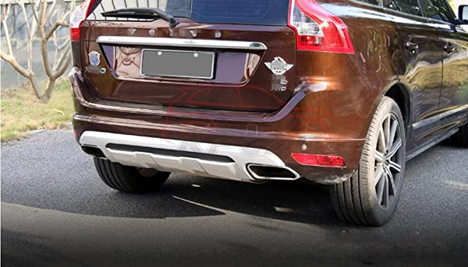 Ajuste para Volvo XC60 2013 - 2016 cromado ABS delantero parachoques trasero Junta Skid placa Bar Guardia: Amazon.es: Coche y moto