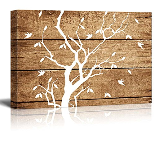 Artistic Abstract Tree on Vintage Wood Background