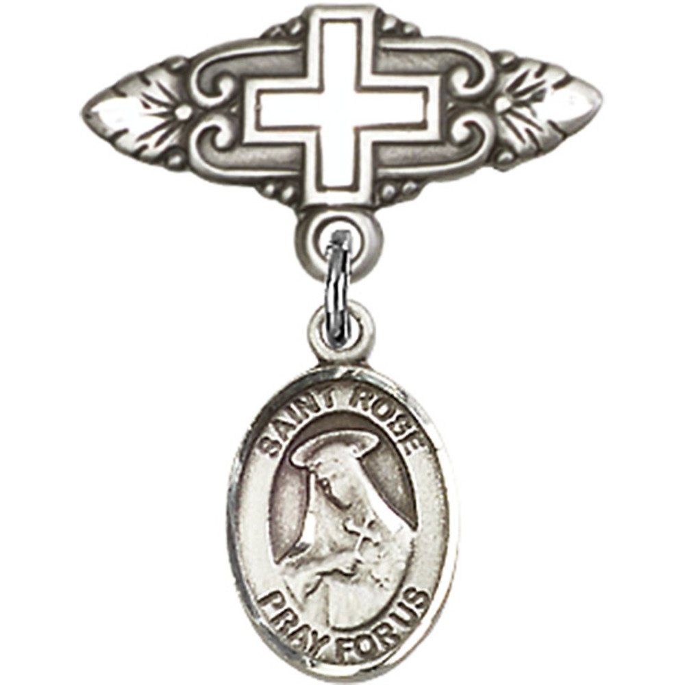 Sterling Silver Baby Badge with St. Rose of Lima Charm and Badge Pin with Cross 1 X 3/4 inches