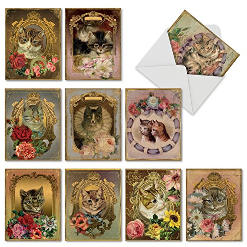 Vintage victorian greeting cards amazon m6638ocb feline frames 10 assorted blank all occasion note cards featuring vintage cats posing in victorian style gilded frames covered by colorful flowers m4hsunfo