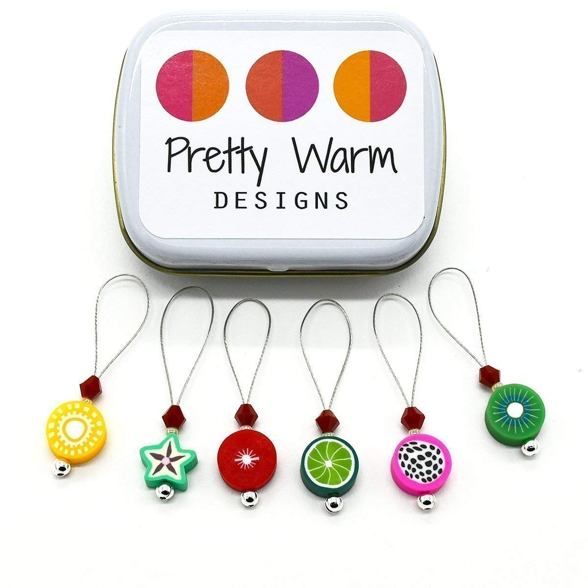 Fruit Bead Polymer Clay Snag Free Stitch Markers Jewelry for Knitting (Set of 6 with Tin)