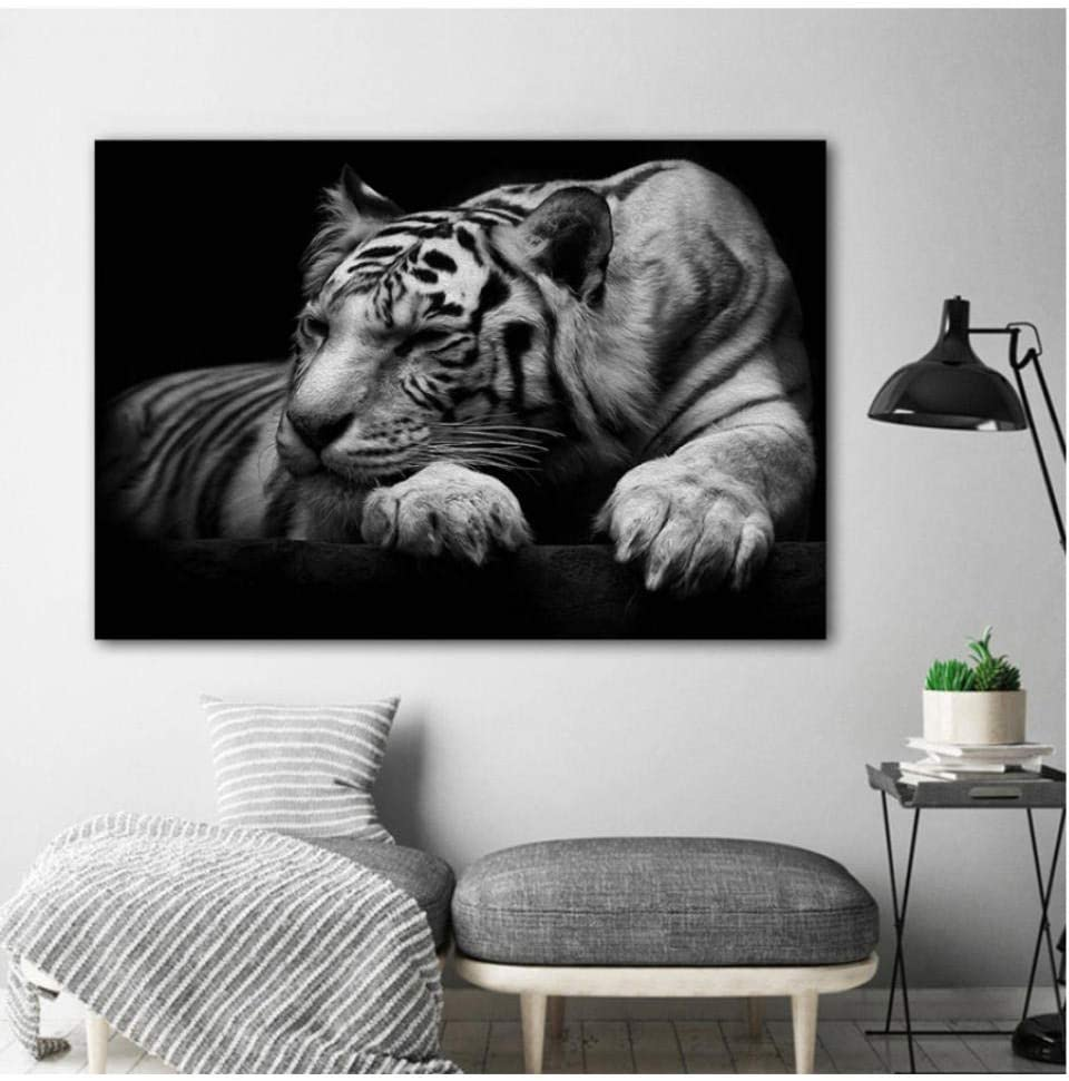 mashanglaile Arte Tigre Blanco Animal Cuadro Lienzo Pintura Mural Salón Dormitorio Moderno Negro Decoración del Hogar Sin Marco