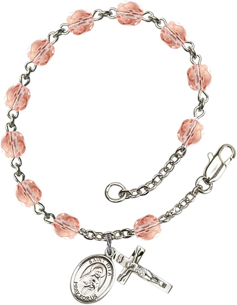 Bonyak Jewelry 18 Inch Rhodium Plated Necklace w// 6mm Light Purple February Birth Month Stone Beads and Saint Rita of Cascia Charm
