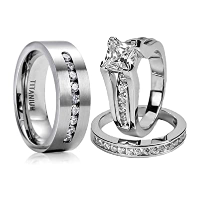 f411eae94c289 loversring Couple Ring Bridal Set His Hers Women White Gold Plated Cz Men  Titanium Wedding Ring Band Set