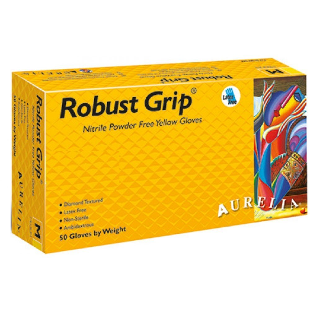 Large, 100 Gloves Aurelia Robust Grip Powder Free Yellow Nitrile Gloves Diamond Textured Grip