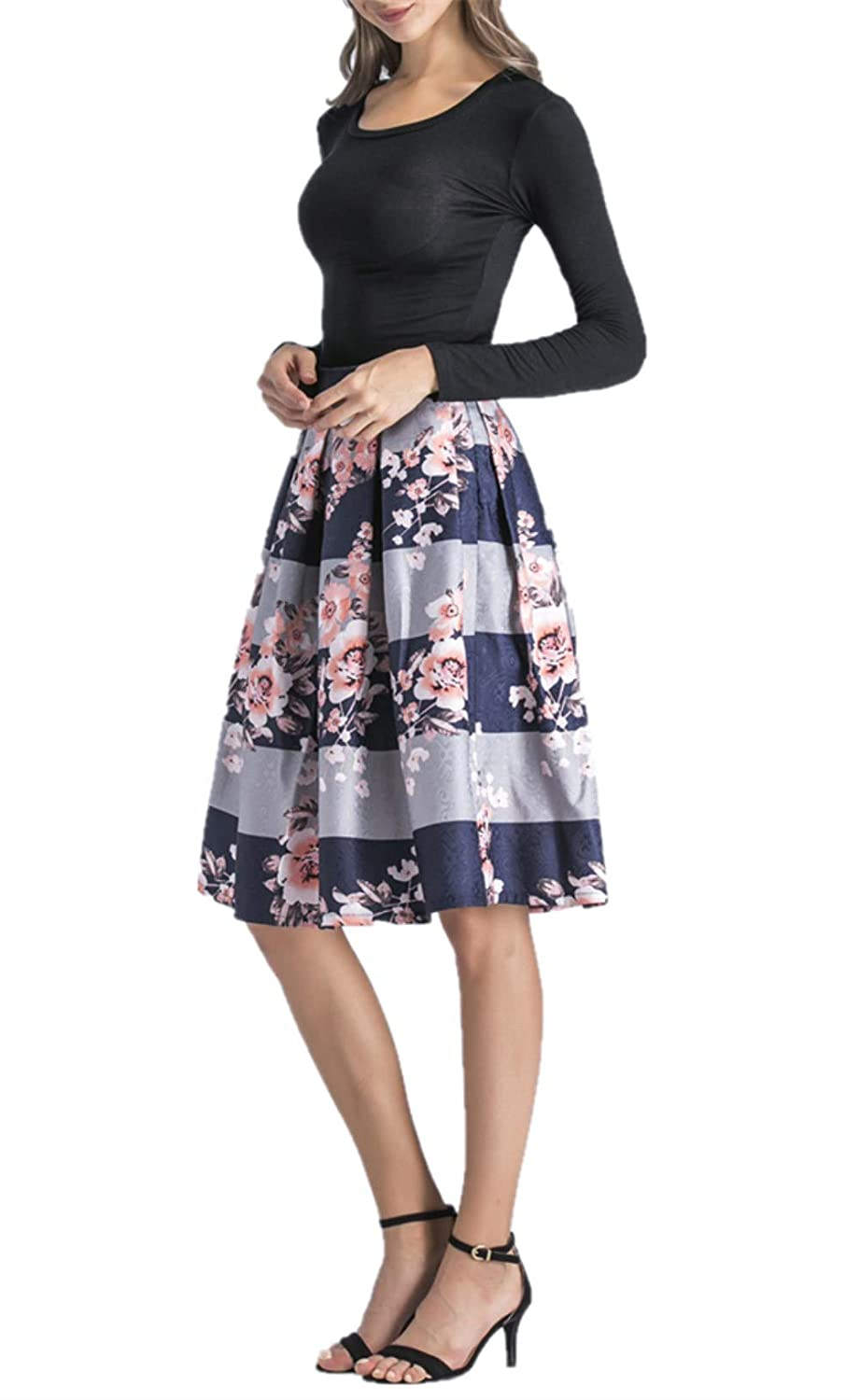 2d8f8ab873 Hanlolo Women's Floral Midi Skirts High Waisted A-Line Cocktail Party Prom  Skirt at Amazon Women's Clothing store:
