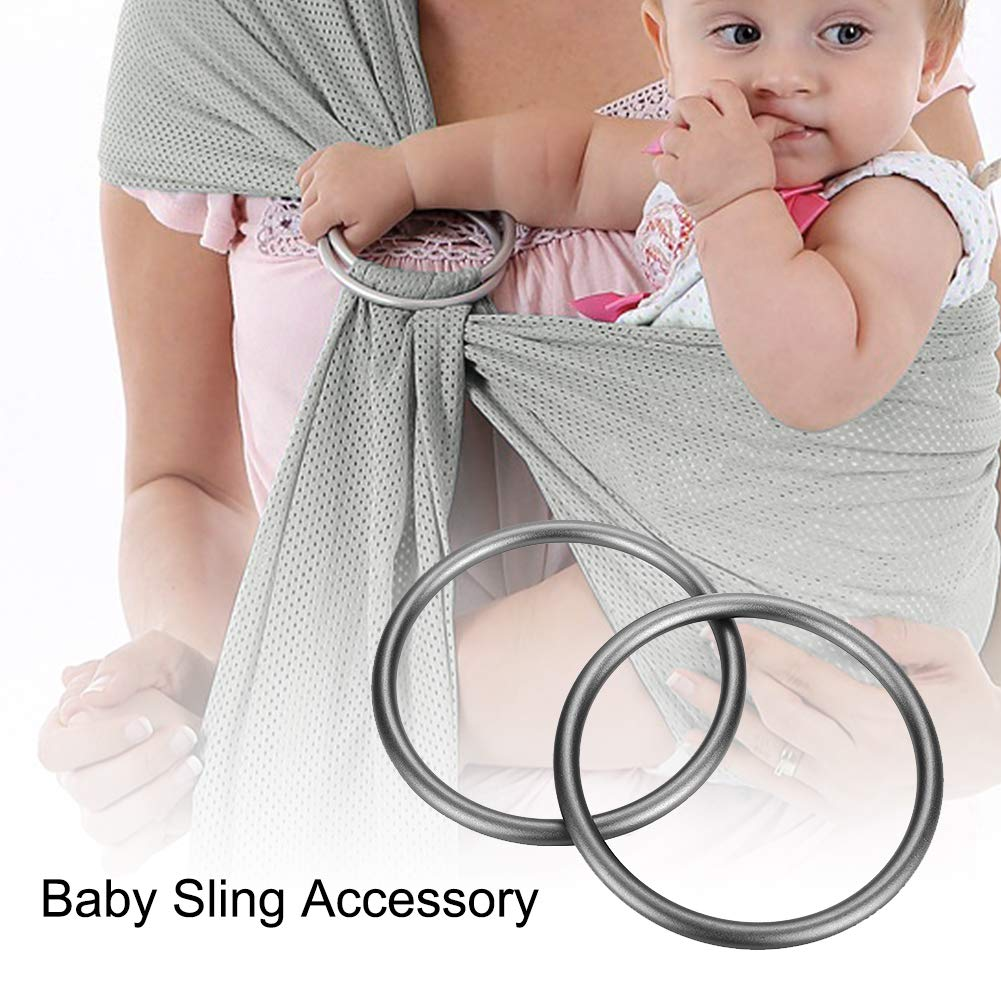 3 inch Aluminium Sling Rings Soft Baby Carrier Ring Accessory for Infants Toddlers Newborn Kids Works with Your Own Material or Convert Wrap to Sling Gray Accmor Baby Sling Ring