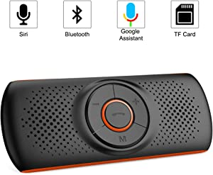 Aigoss Handsfree Bluetooth 4.2 for Cell Phone, Car Speaker Kit with 2 Phones Connection Simultaneous, Support Wireless Hands Free Calling/ Siri & Google Assistant / TF Card