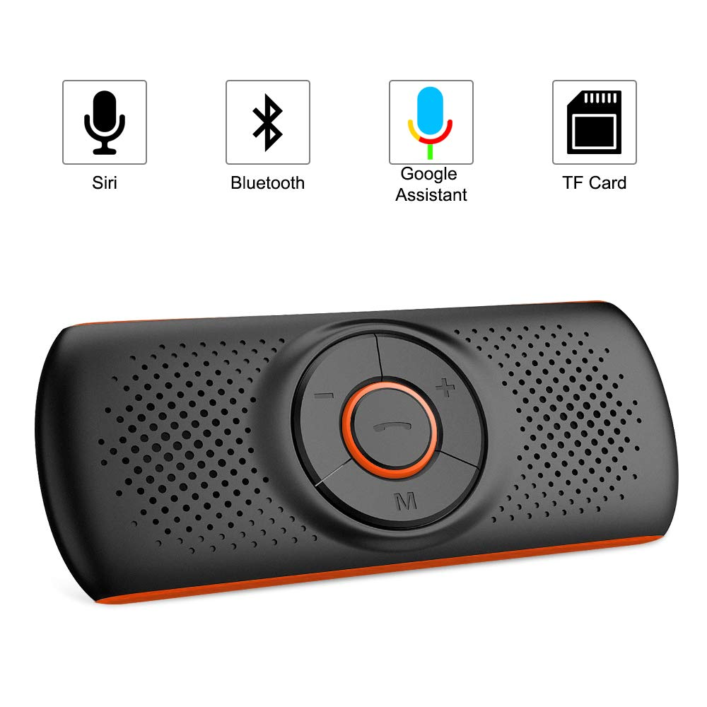 Aigoss Handsfree Bluetooth 4.2 for Cell Phone, Car Speaker Kit with 2 Phones Connection Simultaneous, Support Wireless Hands Free Calling/ Siri & Google Assistant / TF Card by Aigoss