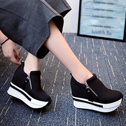 Sneakers Ponerse Porciones Lmmvp De Tac��n Corriendo Zapatos Moda Negro Viajar Plataforma Individuales Botines Casual Deportes Oculto Mujer TpH1wqE