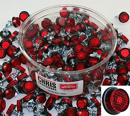 Chris Products CH150R Red Motorcycle Bulk Tub of Mini Licese Plate Reflector, 150 Piece by Chris Products