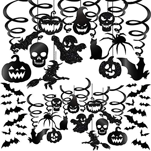 Halloween Hanging Decorations (Winlyn 48 Pcs Halloween Hanging Swirl Decorations Party Swirls Streamers Haunted House Hanging Ceiling Chandelier Décor with Bats Witch Pumpkin Skull Ghost Cat Spider Cutouts and Bats)