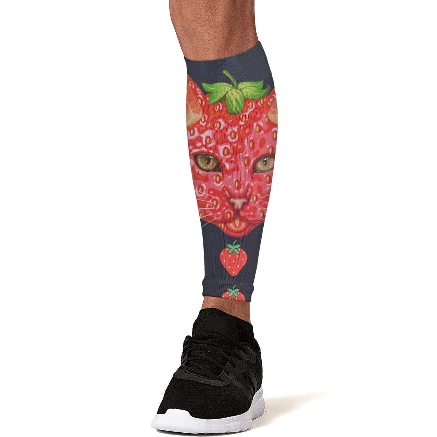 Smilelolly strawberry cat Calf Compression Sleeves Helps Pain Relief Leg Sleeves for Men Women