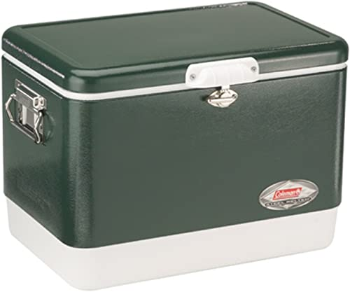 Coleman Camping Tailgating 54 QT Stainless Steel Belted Ice Chest Cooler Green