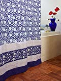 Midnight Lotus ~ Unique Asian Floral Blue Fabric Shower Curtain 72x72