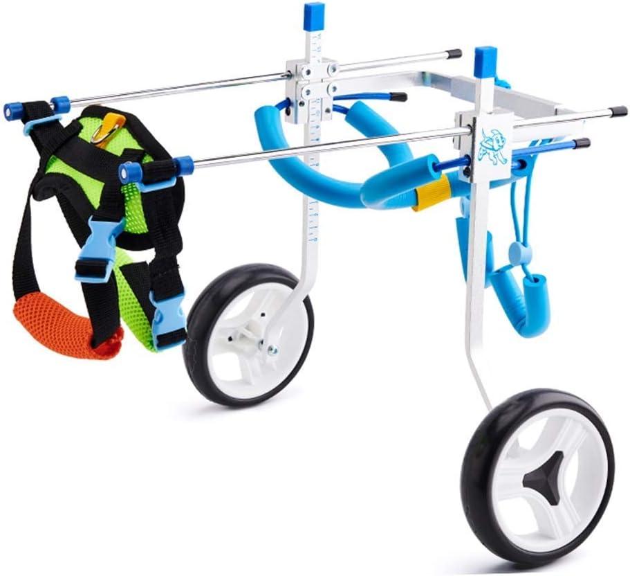 AMITD - Bolsa para silla de ruedas de perro, de aleación de aluminio, para perros discapacitados, con 2 ruedas traseras, para rehabilitación de mascotas, tamaño ajustable de 2 a 30 kg