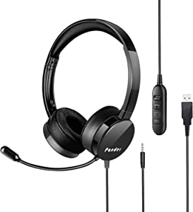 USB Headset with Microphone, Pander Noise Cancelling 3.5mm Computer PC Headset, Lightweight Wired Business Headphones with Volume Control for Skype, Webinar, Phone, Call Center - Black