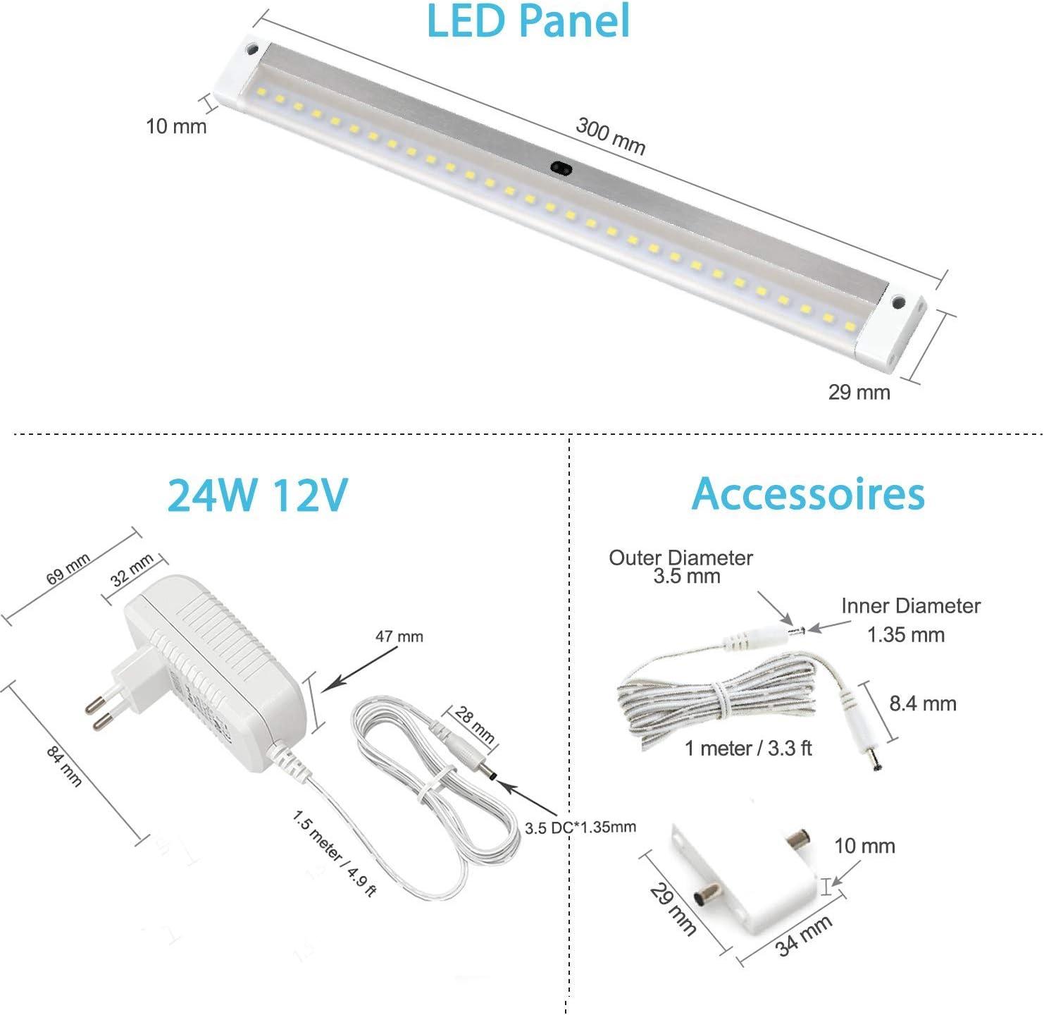 EShine 4 Panels 30 cm LED Dimmbares Unterbauleuchten-Set, Aktivierbar per Handbewegung - Berührungslose Dimm-Kontrolle - Deluxe Set, Warmweiß (3000K) Kaltweiß (6000k)