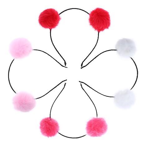 Frcolor 4 unids Diadema de Oreja de Gato Aro de Bolas Ornamento Lindo para Pelo para
