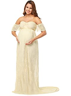 e33ca8e8d81 JustVH Women s Off Shoulder Ruffle Sleeve Lace Maternity Gown Maxi  Photography Dress