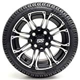 Golf Cart 12'' Voyager SS Machined and Matte Black Wheel and 215/35-12 or 215/50-12 DOT Golf Cart Tire Combo - - Set of 4 (215/35-12, Standard Lugs)