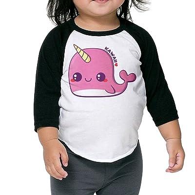 SH-rong Kawaii Pink Narwhal Toddler Baseball Tshirt