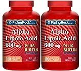 Piping Rock Alpha Lipoic Acid 600 mg Plus Biotin Optimizer 2 Bottles x 180 Quick Release Capsules Dietary Supplement