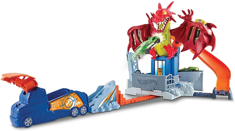 Hot Wheels- Sconfiggi Il Dragone Playset per Macchinine con Lanciatore Mobile Drago e Tanti Livelli Include Un Veicolo DWL04